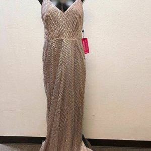 *NWT Adrianna Papell Pink & Silver Sequin Long 10